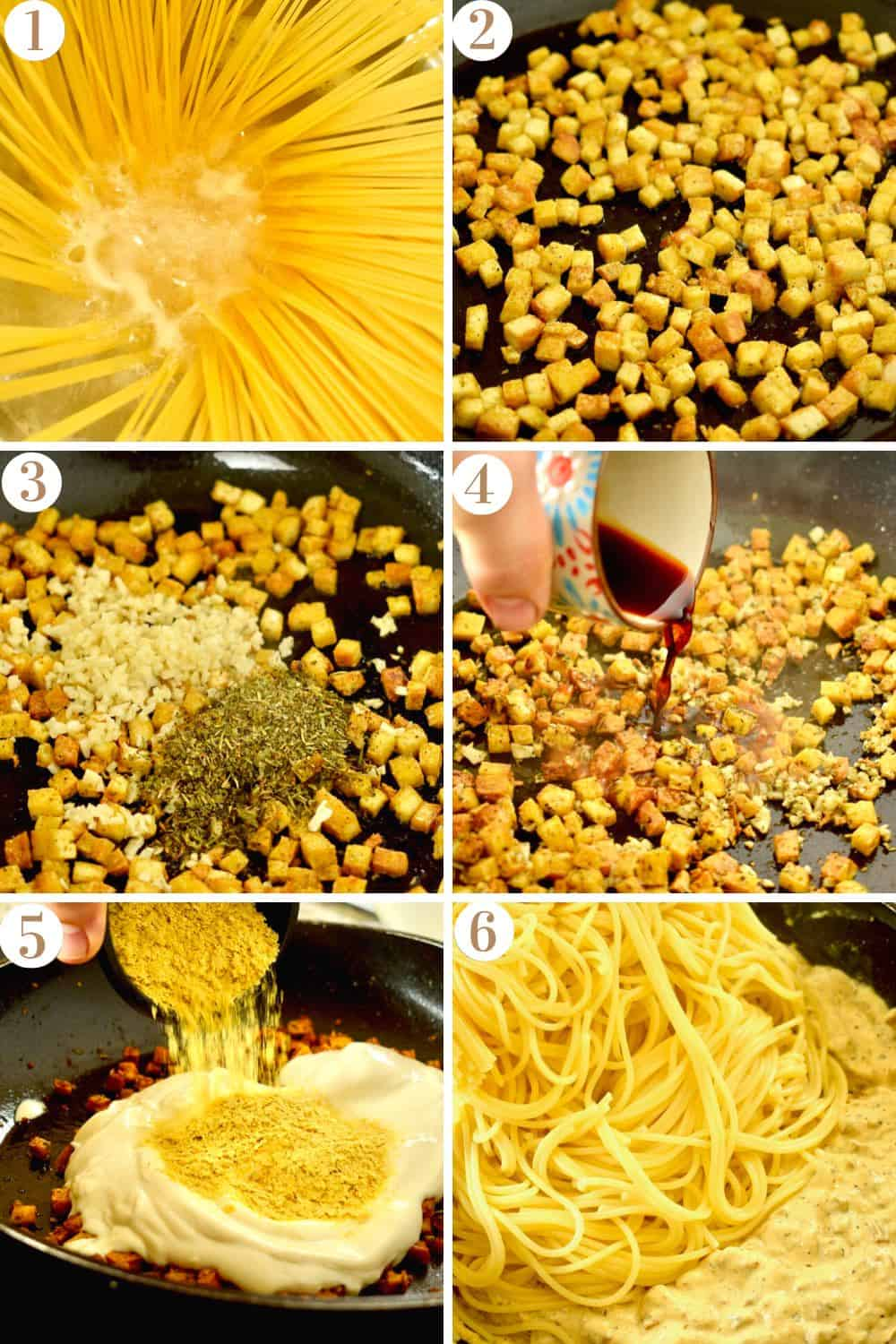 A step by step collage illustrating how to make vegan carbonara