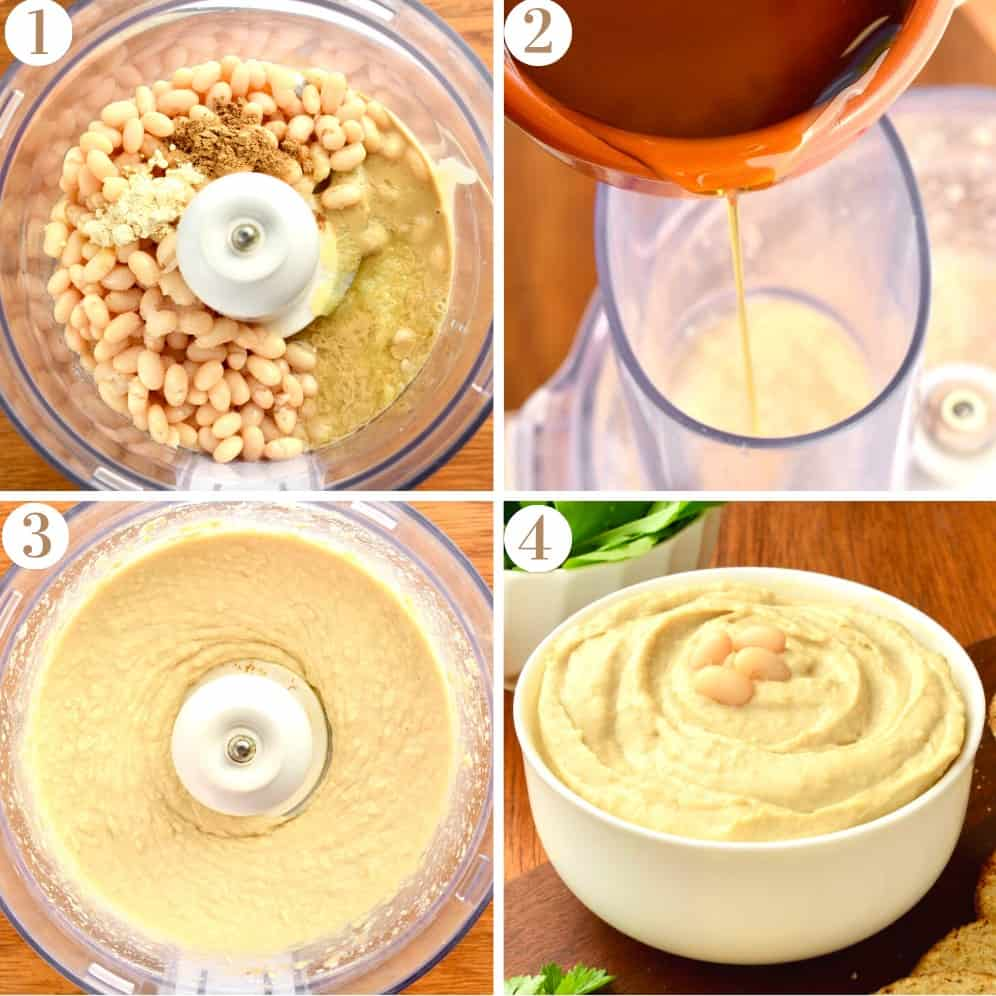 A collage showing the blender from above whilst making the hummus, and  finally the finished cannellini bean hummus in a bowl