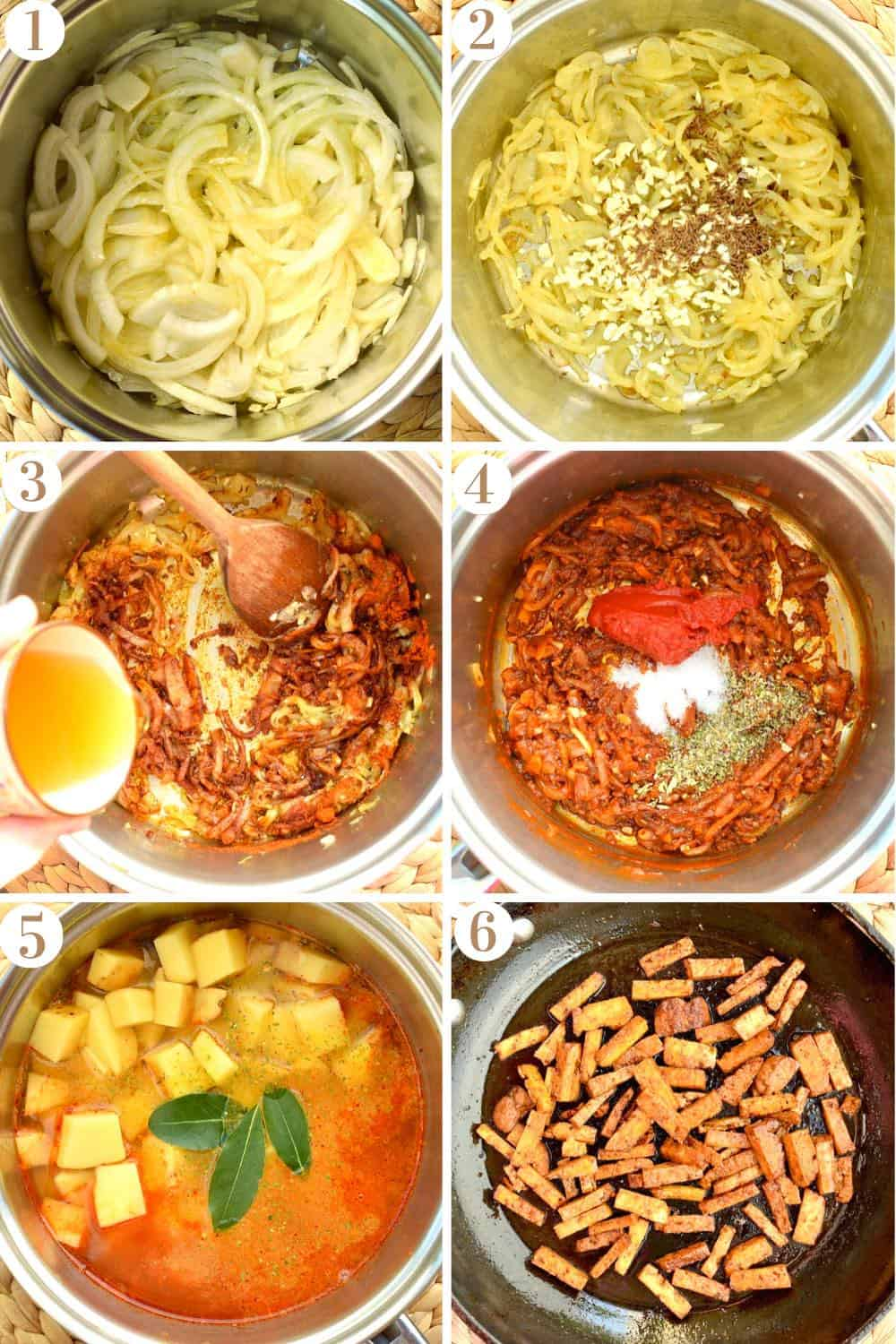 A step by step collage showing the pan from above whilst cooking the goulash