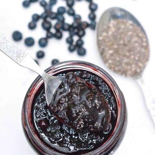 Taking a spoonful of blueberry chia jam