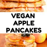 The stack of syrup covered pancakes. Text reads Vegan Apple Pancakes.