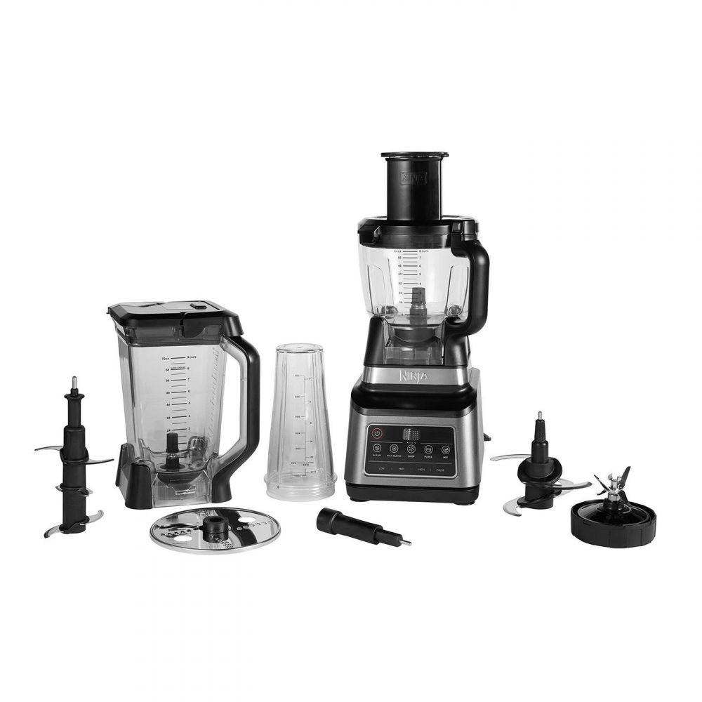 The Ninja Kitchen 3 in 1 food processor with all accessories that it comes with.