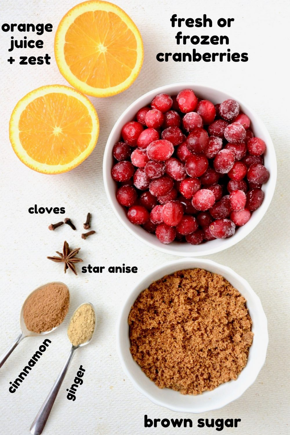Cranberry sauce ingredients on a white board - frozen cranberries, orange juice and zest, clove, star anise, cinnamon, ginger and brown sugar.
