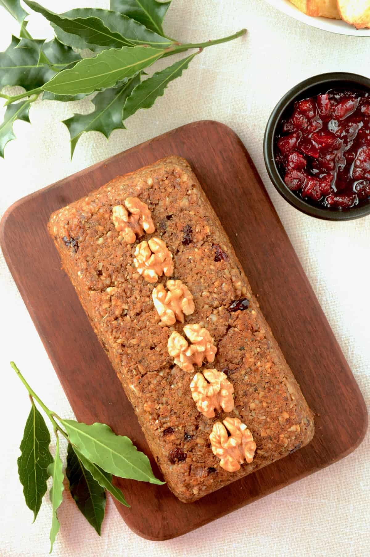For serving up on the dinner table, the nut loaf looks great decorated with a line of walnut or pecan nut halves placed along the center line of the roast.