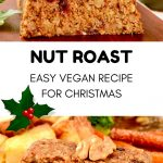 A collage. Text reads 'Nut roast. Easy vegan recipe for Christmas'. The upper half shows a loaf of vegan roast topped with walnuts and roasted potatoes on the side. Bottom half shows a slice of nut loaf as part of a vegan christmas roast dinner with some roasted vegetables, cranberry sauce and onion gravy.
