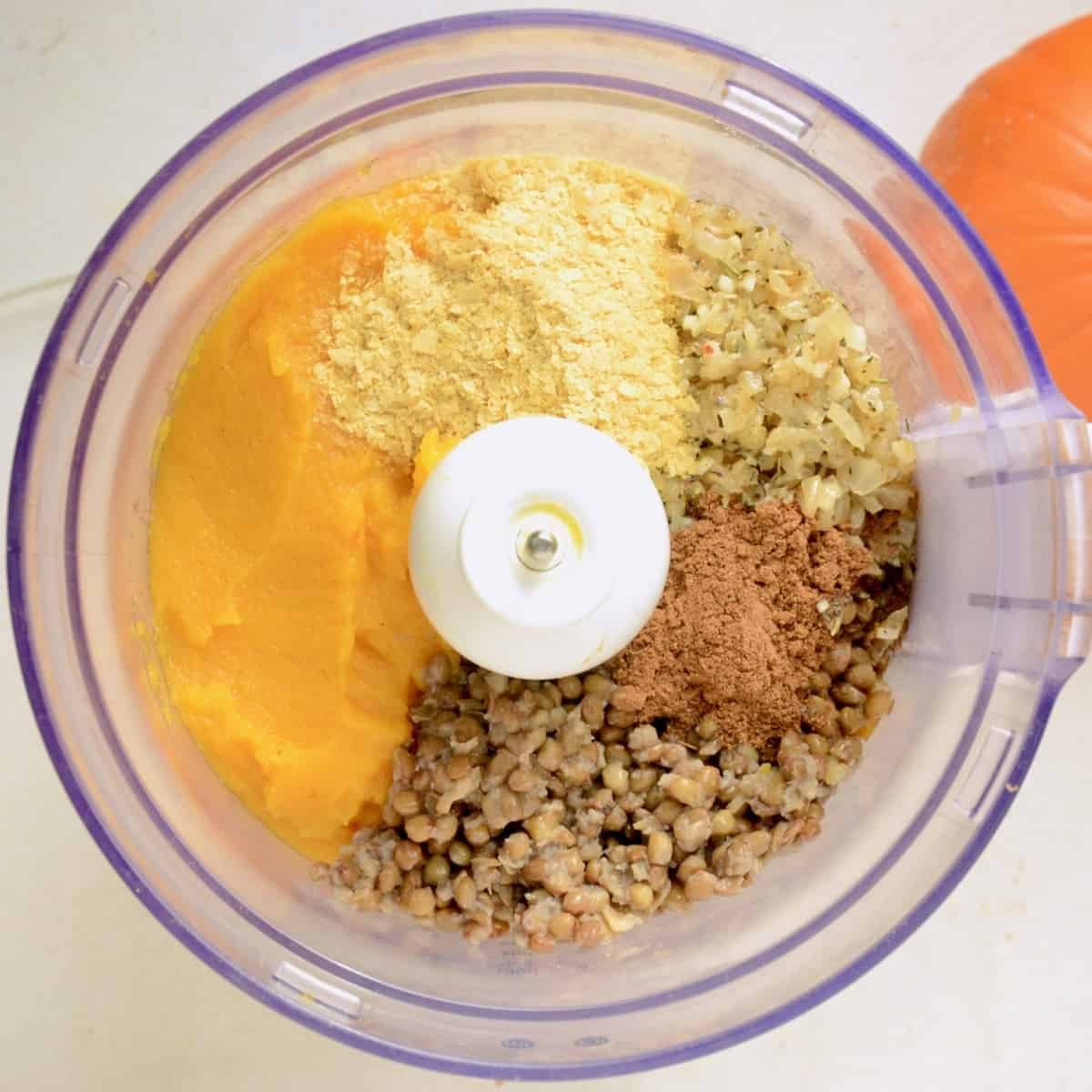 All the ingredients for the dip in a food processor.