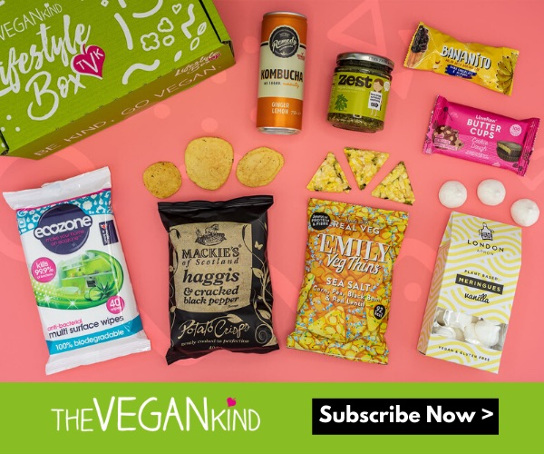 An assortment of vegan snacks offered by the Vegan Kind Supermarket. Follow the link to subscribe to or gift someone with their Vegan Subscription Box.