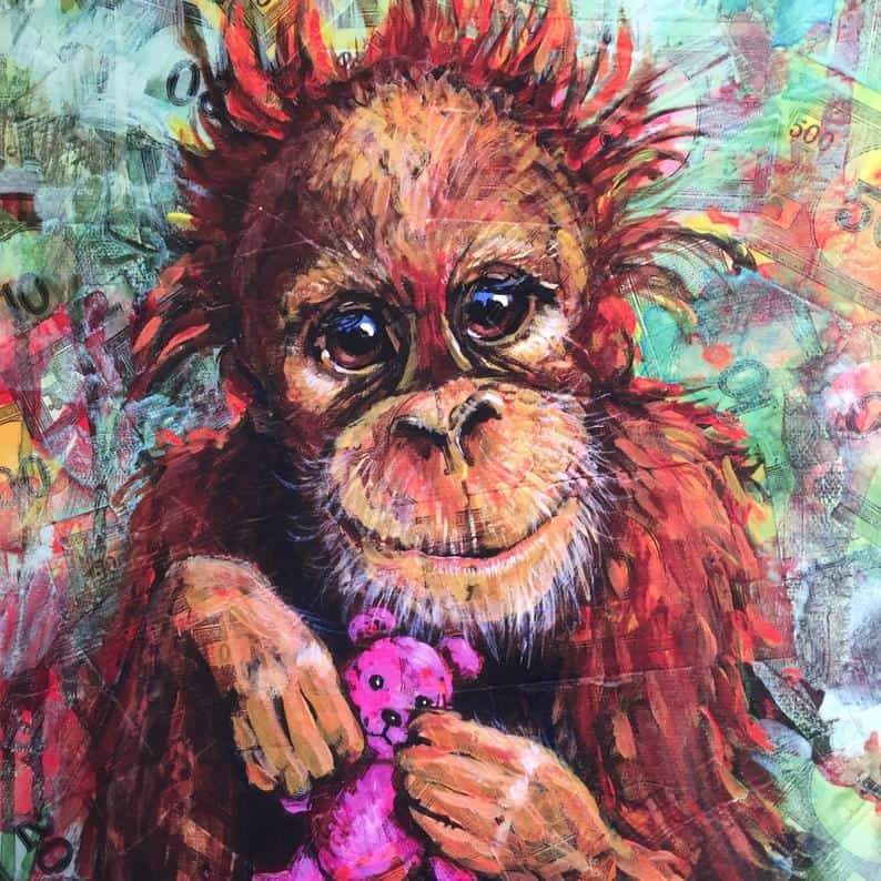 A colourful painting of a baby orang utan looking at the viewer holding a small pink teddy bear.