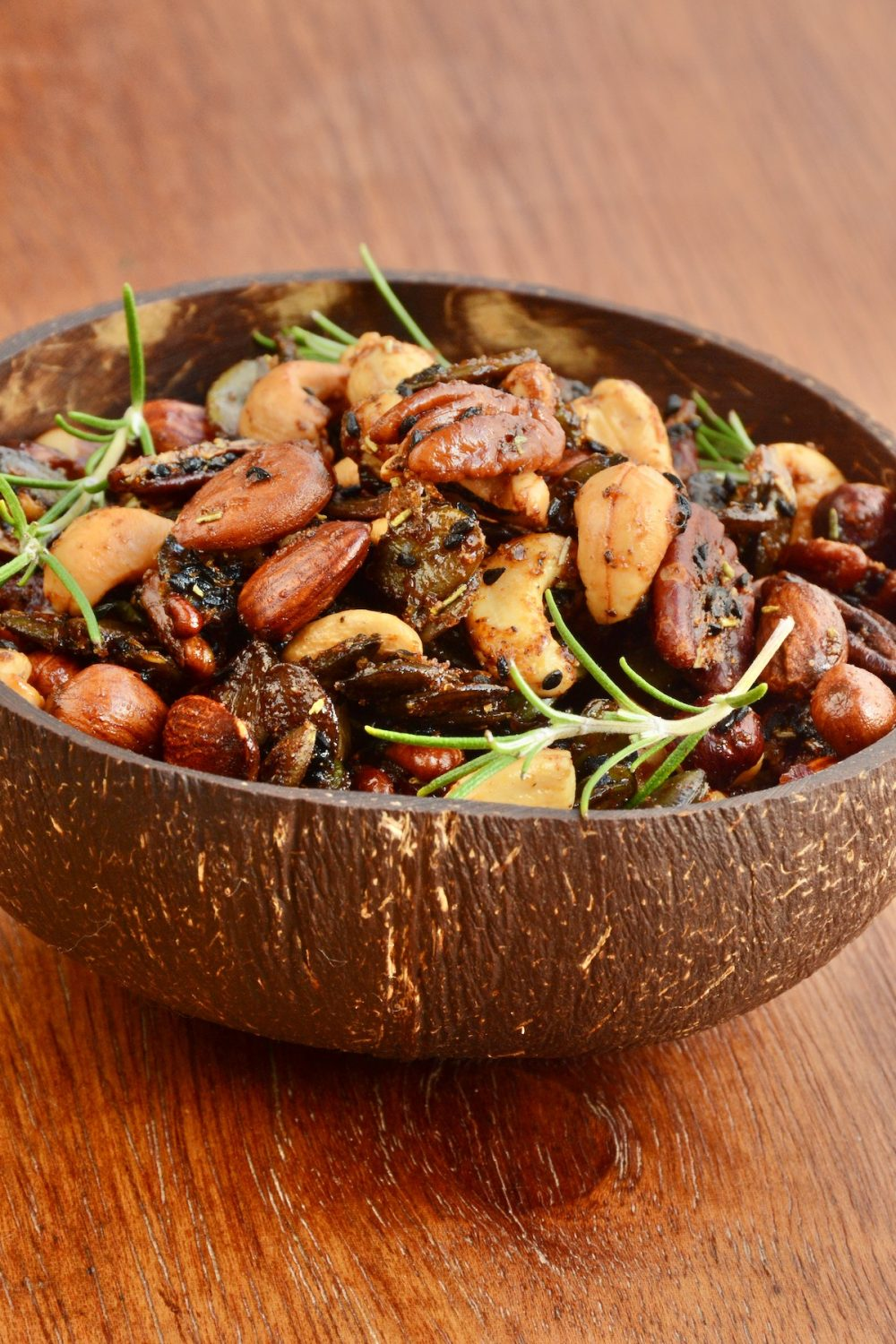 Nuts in a coconut bowl.