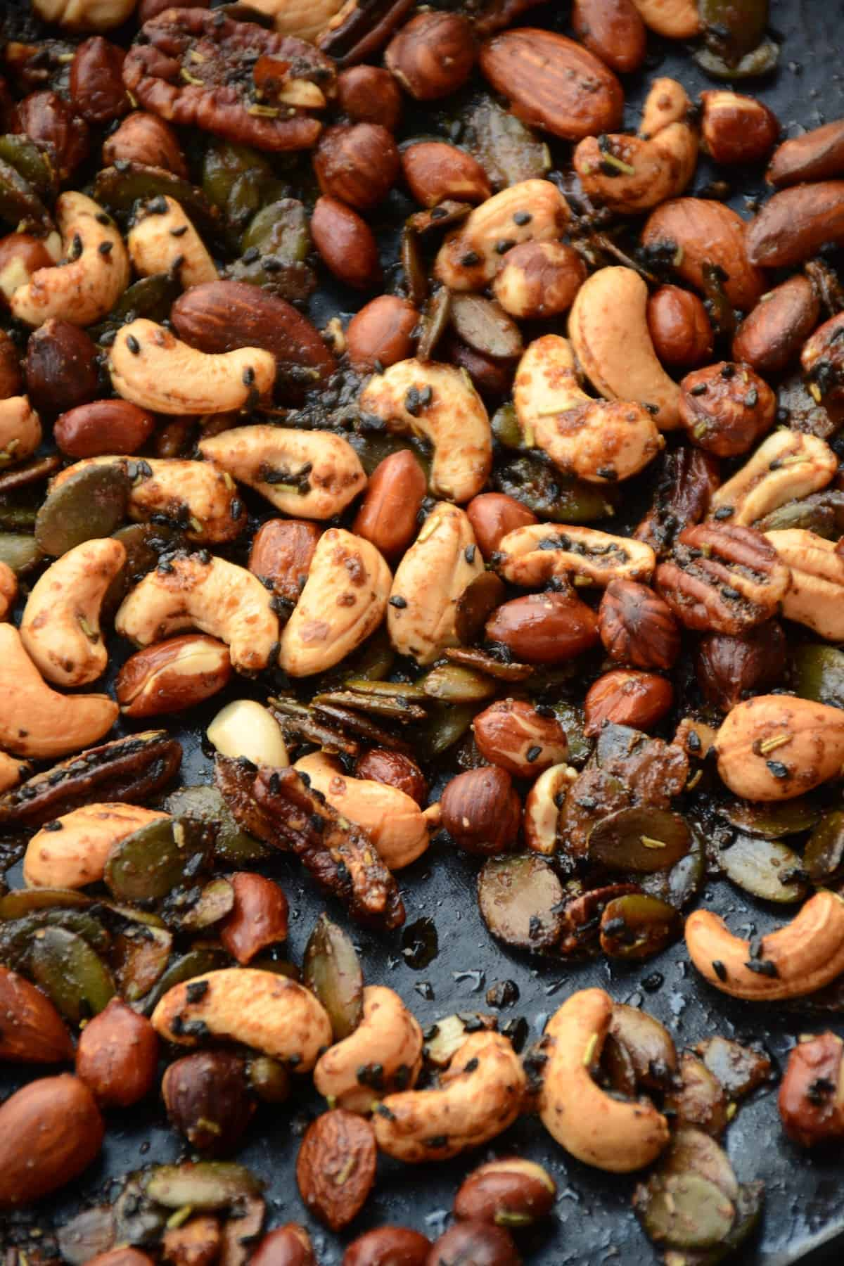 The golden brown colour of the roasted nuts.