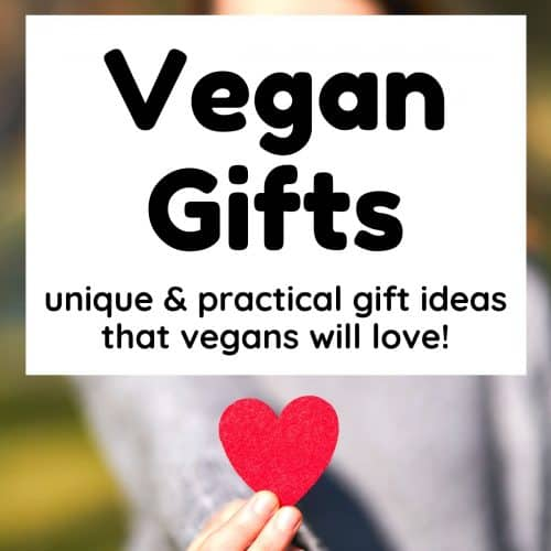 A hand holding a red heart shape towards the viewer. Text reads 'Vegan Gifts. Unique and practical gift ideas that vegans will love!'