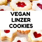 A collage. Text reads 'Vegan Linzer Cookies'. The pictures show double layered, sugar dusted cookies filled with red jam, which can be seen through a central opening in the cookie tops.