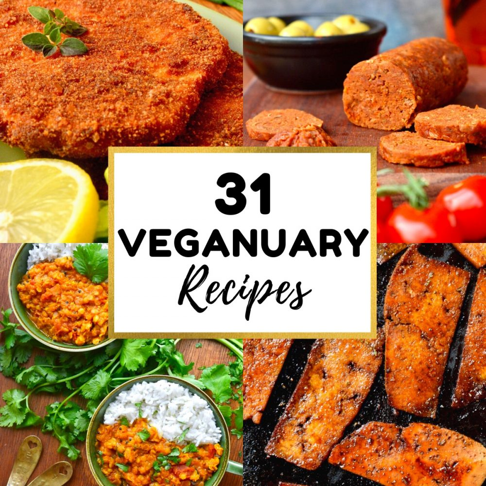 A collage of tasty vegan dishes. Text reads 31 Veganuary Recipes.