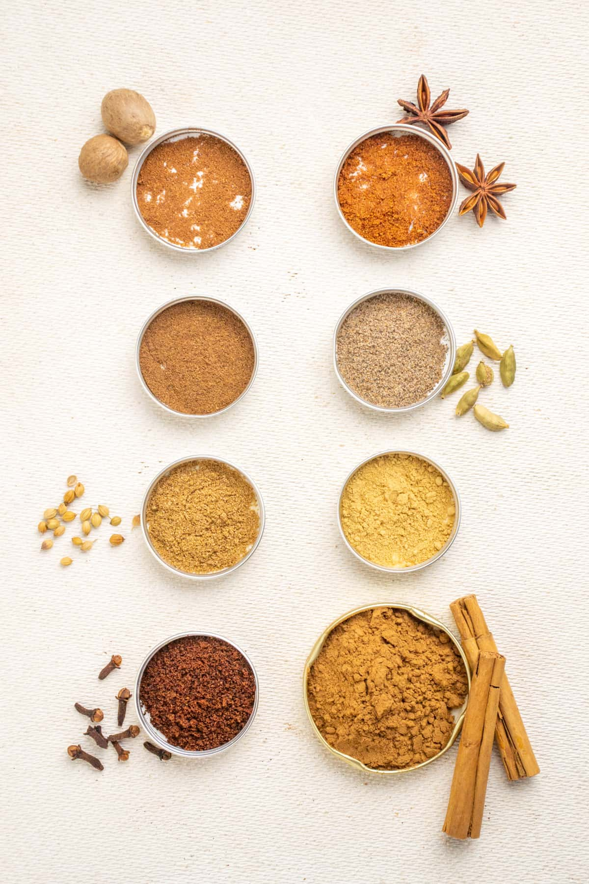 Spice jar lids arranged in two rows containing the ingredients for gingerbread spice mix.
