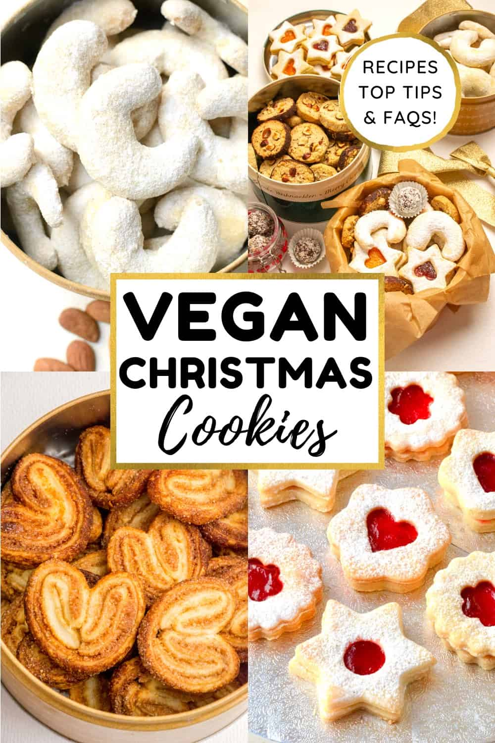 A collage of cookie pictures. Text reads vegan christmas cookies, recipes, top tips & FAQs.