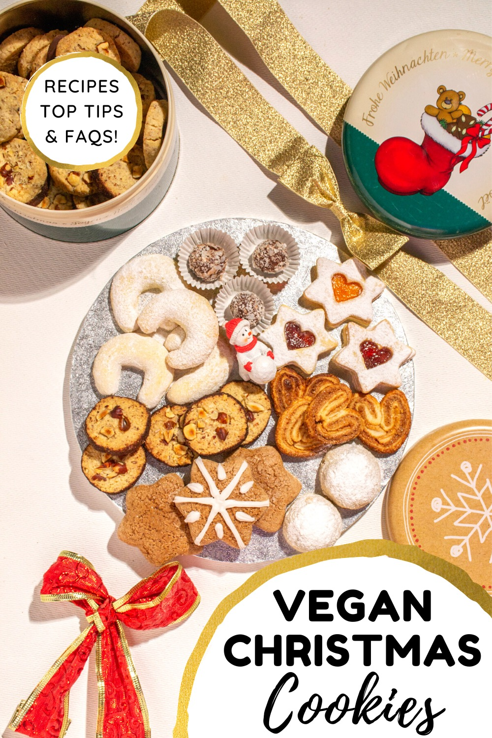 A spread of vegan holiday cookies. Text reads vegan christmas cookies, recipes, top tips & FAQs.