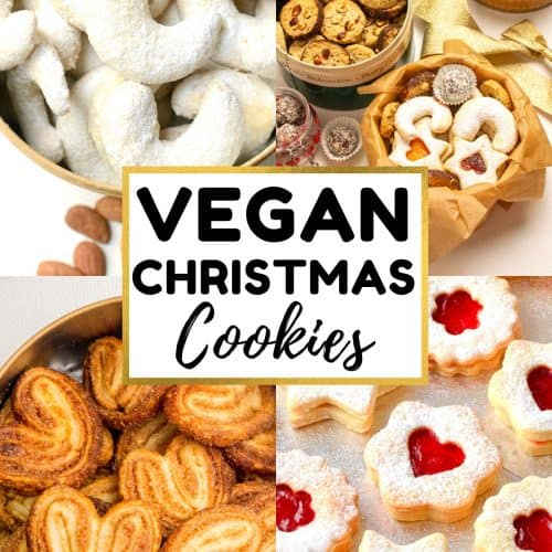A collage of cookie pictures. Text reads vegan christmas cookies.