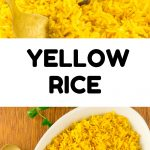 A collage of the finished dish. Text reads: Yellow Rice.