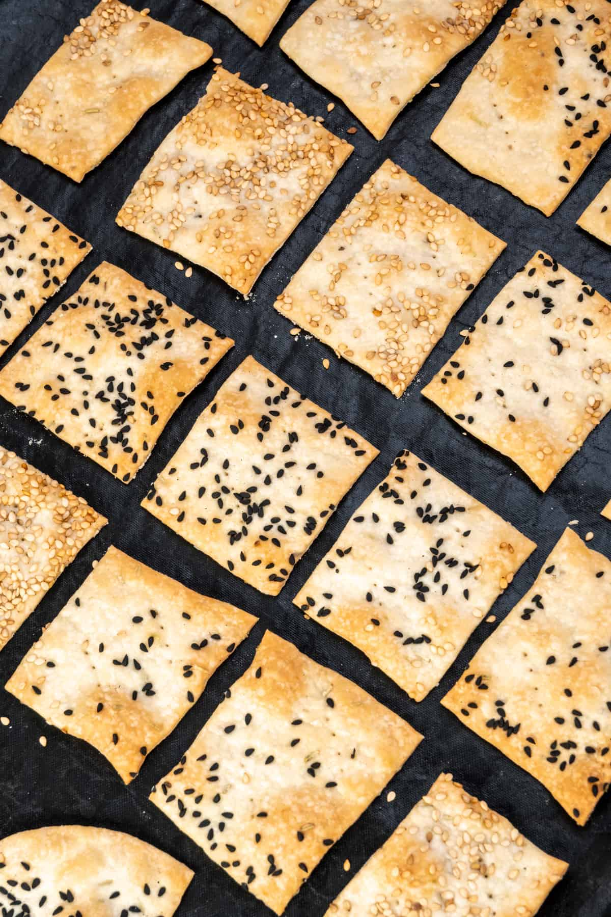 Rows of freshly baked crackers topped with sesame and nigella seeds.