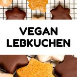 A collage of cohocolate and icing covered gingerbread cookies - text reads: Vegan Lebkuchen.