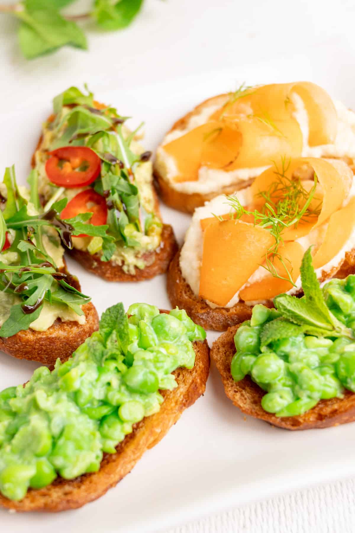 Crostini with various toppings served as appetizer on a white plate.