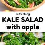 A collage, top: A wooden bowl full of salad, centre: text reads refreshing kale salad with apple, bottom - a close up of apples slices and curly kale leaves.