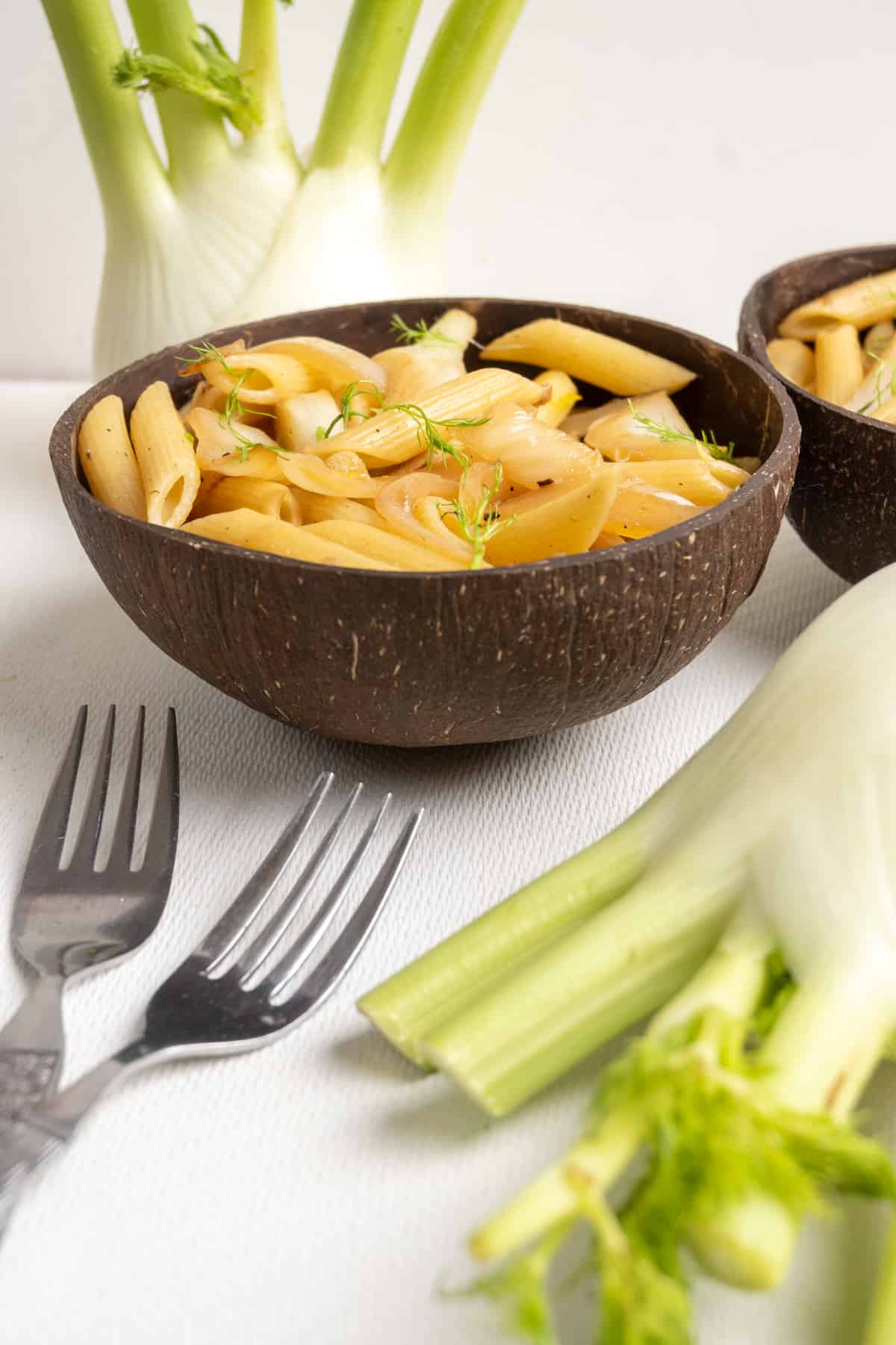 A portion of fennel pasta served up in a coconut bowl. Two bulb of fennel serve as decoration for the photograph.