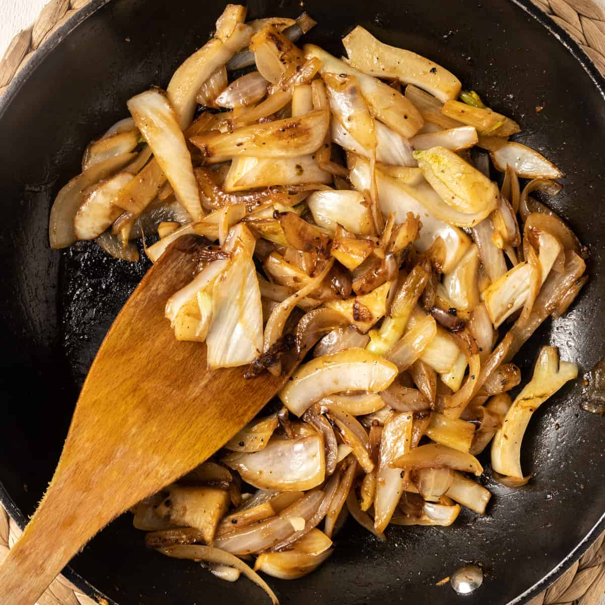 The fennel and onion are caramellised by sauteing in olive oil with some sugar.
