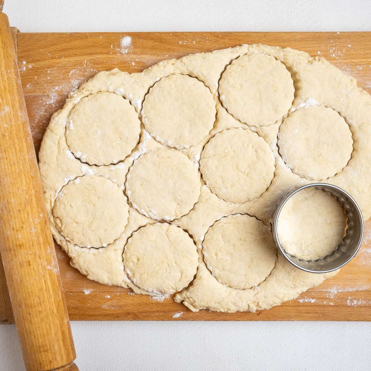 Round shapes cut from a rolled dough using a cookie cutter.