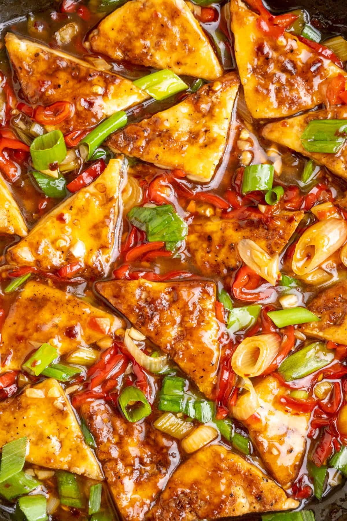 Pieces of golden fried tofu in a glossy sauce with pieces of spring onion and thinly sliced red pepper.