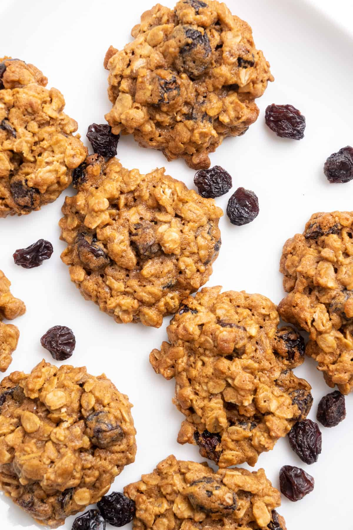 Cookies with oats and raisins on a white surface.